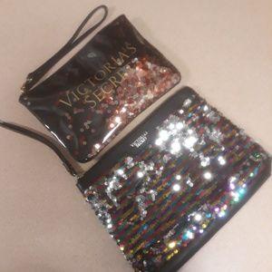 Victoria Secret sequin makeup bags